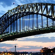 Dusk view of the Sydney Harbour Bridge