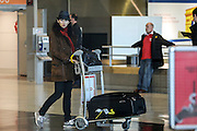 08.FEBRUARY.2013. PARIS<br /> <br /> ERIC CANTONA AND HIS WIFE RACHIDA BRAKNI ARE SEEN ARRIVING AT CHARLES DE GAULLE AIRPORT IN ROISSY NEAR PARIS.<br /> <br /> BYLINE: EDBIMAGEARCHIVE.CO.UK<br /> <br /> *THIS IMAGE IS STRICTLY FOR UK NEWSPAPERS AND MAGAZINES ONLY*<br /> *FOR WORLD WIDE SALES AND WEB USE PLEASE CONTACT EDBIMAGEARCHIVE - 0208 954 5968*
