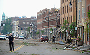 Damage and debris is seen on Main St. after a tornado in downtown Springfield, Mass. (AP Photo/Jessica Hill)