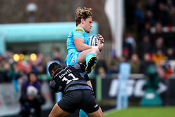 Tom Howe of Worcester Warriors is tackled by Sinoti Sinoti of Newcastle Falcons - Mandatory by-line: Robbie Stephenson/JMP - 03/03/2019 - RUGBY - Kingston Park - Newcastle upon Tyne, England - Newcastle Falcons v Worcester Warriors - Gallagher Premiership Rugby