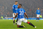 Alfredo Morelos of Rangers FC on his knees during the Betfred Scottish League Cup Final match between Rangers and Celtic at Hampden Park, Glasgow, United Kingdom on 8 December 2019.