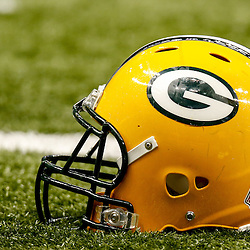 Oct 26, 2014; New Orleans, LA, USA; A detail of a Green Bay Packers helmet before a game against the New Orleans Saints at the Mercedes-Benz Superdome. Mandatory Credit: Derick E. Hingle-USA TODAY Sports
