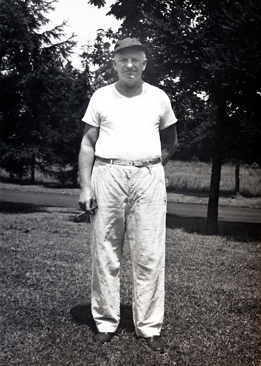 portrait of a man standing casual outdoors America 1940s
