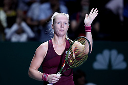 October 23, 2018 - Singapore, Singapore - Kiki Bertens of the Netherlands waves to the crowd after her win during the match between Angelique Kerber and Kiki Bertens on day 2 of the WTA Finals at the Singapore Indoor Stadium. (Credit Image: © Paul Miller/ZUMA Wire)