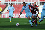 Coventry's David McGoldrick (31) holds off Swindon's John Bostock. NPower league one, Swindon Town v Coventry city at the County Ground in Swindon on Saturday 13th October 2012.  pic by  Andrew Orchard, Andrew Orchard sports photography,
