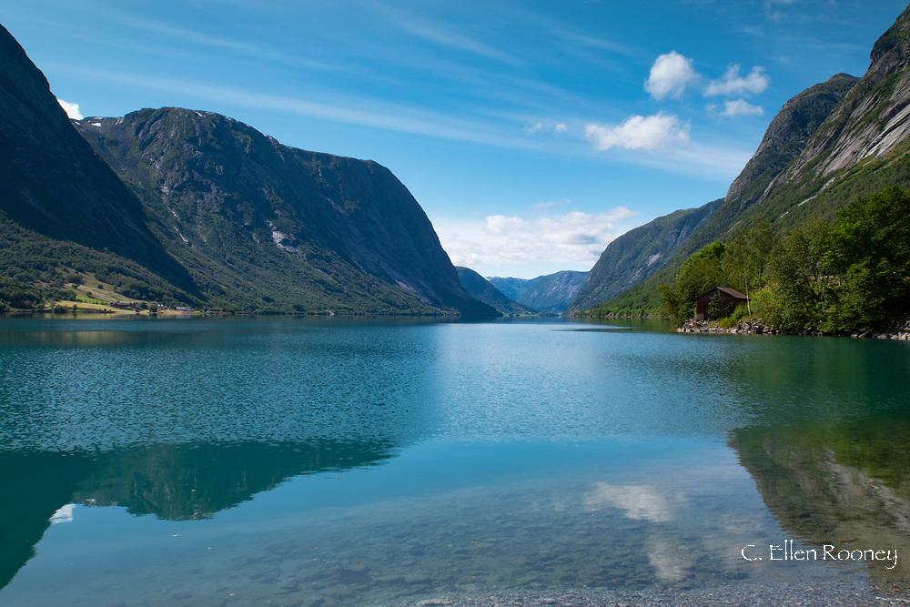 Mountain reflections in Fjaerlands Fjord, Vestlandet, Norway