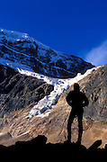 Hiker silhouetted under Mount Edith Cavell and the Angel Glacier, Canadian Rockies, Jasper National Park, Alberta, Canada