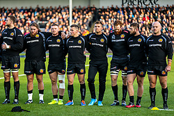 Henry Slade of Exeter Chiefs during the act of Remembrance before kick off - Rogan/JMP - 10/11/2019 - RUGBY UNION - Sandy Park - Exeter, England - Exeter Chiefs v Bristol Bears - Gallagher Premiership.