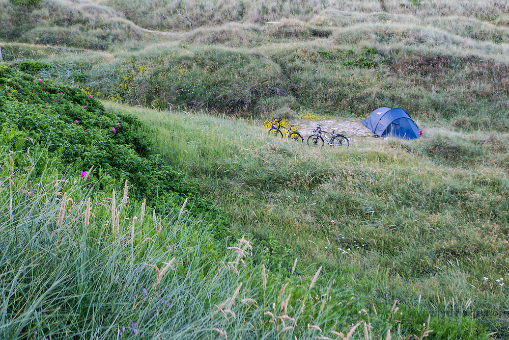 Camping in the sand dunes in Denmark