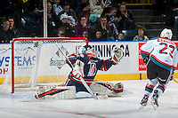 KELOWNA, CANADA - JANUARY 7: Dylan Ferguson #31 of the Kamloops Blazers makes a shoot out save against the Kelowna Rockets on January 7, 2017 at Prospera Place in Kelowna, British Columbia, Canada.  (Photo by Marissa Baecker/Shoot the Breeze)  *** Local Caption ***