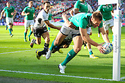 Ireland's Tommy Bowe scores a try during the Rugby World Cup Pool D match between Ireland and Romania at Wembley Stadium, London, England on 27 September 2015. Photo by Phil Duncan.