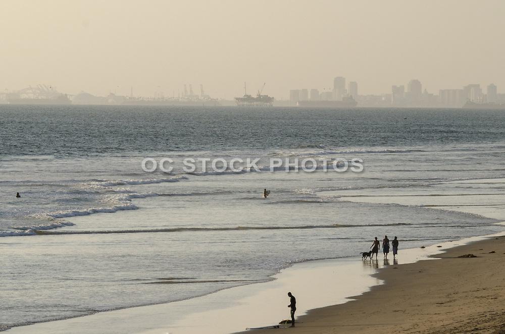 Hazy Day on the Beach in Huntington Beach California