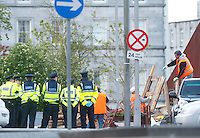 Gardai and Council workers removing the occupy Galway protest  from Eyre Square Galway. Photo:Andrew Downes