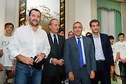 Rome sep 24th 2015, meeting on right wing rebuilding. In the picture Matteo Salvini, Andrea Ronchi, Maurizio Gasparri, Raffaele Fitto