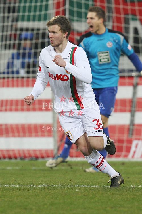 "28.01.2012, SGL Arena, Augsburg, GER, 1. FBL, FC Augsburg vs 1. FC Kaiserslautern, 19. Spieltag, im Bild Stephan HAIN (# 36, FC Augsburg) dreht nach seinem Treffer zum 2:2 jubelnd ab // during the football match of the german ""Bundesliga"", 19th round, between FC Augsburg and 1. FC Kaiserslautern, at the SGL Arena, Augsburg, Germany on 2012/01/28. EXPA Pictures © 2012, PhotoCredit: EXPA/ Eibner/ Peter Fastl..***** ATTENTION - OUT OF GER *****"