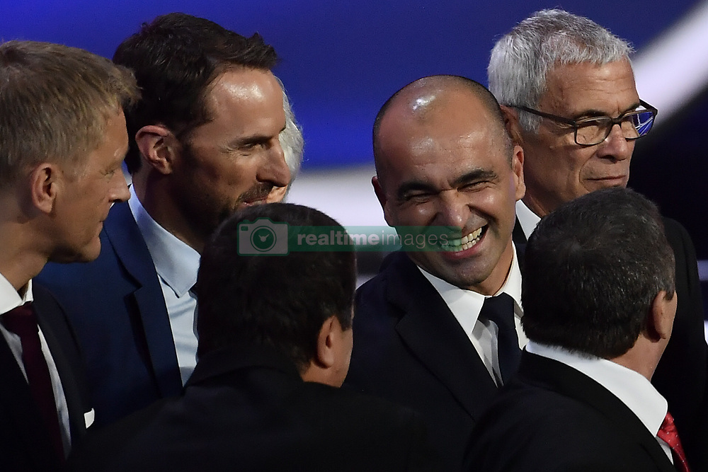 December 1, 2017 - Moscow, RUSSIA - England head coach Gareth Southgate (C) and Belgium's head coach Roberto Martinez (R) pictured during the draw for the 2018 World Cup soccer in Moscow, with Belgium team in pot one, Russia, Friday 01 December 2017...BELGA PHOTO DIRK WAEM (Credit Image: © Dirk Waem/Belga via ZUMA Press)