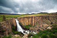 The mighty North Clear Creek Falls is a popular attraction between Lake City and Creede, Colorado