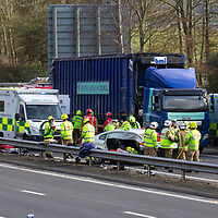 Police, Firefighters and Paramedics at work on the M90 motorway just south of Perth after a road traffic collision involving numerous cars and a lorry happened at approximately 1.50pm Wednesday 20.03.19.<br />