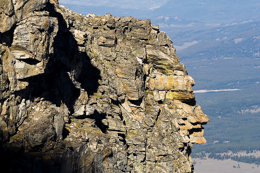 Rock formation that resembles a Native American human face in profile below Teewinot Mountain in Grand Teton National Park, Wyoming.