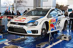 14.01.2014, Rallye Servicepark, Monte Carlo, FRA, FIA, WRC, Rallye Monte Carlo, Shakedown, im Bild Auch der Servicebereich von Volkswagen Motorsport ist schon aufgebaut, die Fahrzeuge werden vorbereitet // during the Shakedown of FIA Rallye Monte Carlo held near Monte Carlo, France on 2014/01/14. EXPA Pictures © 2014, PhotoCredit: EXPA/ Eibner-Pressefoto/ Neis<br /> <br /> *****ATTENTION - OUT of GER*****