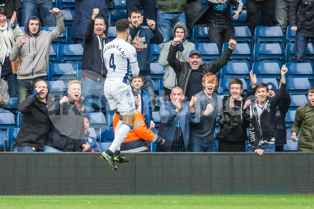 Hal Robson-Kanu of West Bromwich Albion celebrates scoring during the Premier League match between West Bromwich Albion and Arsenal at The Hawthorns, West Bromwich, England on 18 March 2017. Photo by Darren Musgrove.