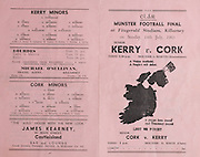 Munster Football Final Programme.14.07.1963  14th July 1963.Kerry v Cork.Fitzgerald Stadium, Killarney