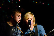 Riley Bria and Josh Woratyia of Levi Road during the band's performance at The Bus Stop Music Cafe in Pitman, NJ.