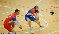 Neven Majstorovic of Serbiaa and Uros Kovacevic of Serbiaduring friendly volleyball match between National teams of Serbia and Slovenia, on August 18, 2017, in Belgrade, Serbia. Photo by Nebojsa Parausic / MN press / Sportida