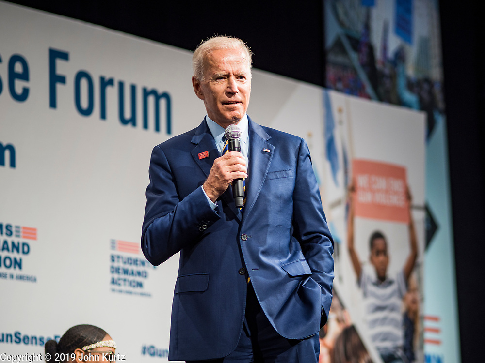 10 AUGUST 2019 - DES MOINES, IOWA: Former Vice President JOE BIDEN answers questions from gun violence survivors. Several thousand people from as far away as Milwaukee, WI, and Chicago, came to Des Moines Saturday for the Presidential Gun Sense Forum. Most of the Democratic candidates for president attended the event, which was organized by Moms Demand Action, Every Town for Gun Safety, and Students Demand Action.      PHOTO BY JACK KURTZ