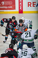 KELOWNA, CANADA - OCTOBER 10:  Referee Ward Pateman drops the puck at centre ice between the Kelowna Rockets and the Seattle Thunderbirds on October 10, 2018 at Prospera Place in Kelowna, British Columbia, Canada.  (Photo by Marissa Baecker/Shoot the Breeze)  *** Local Caption ***