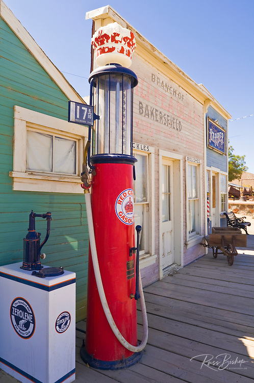 Shops and old gas pump at the ghost town of Randsburg, California