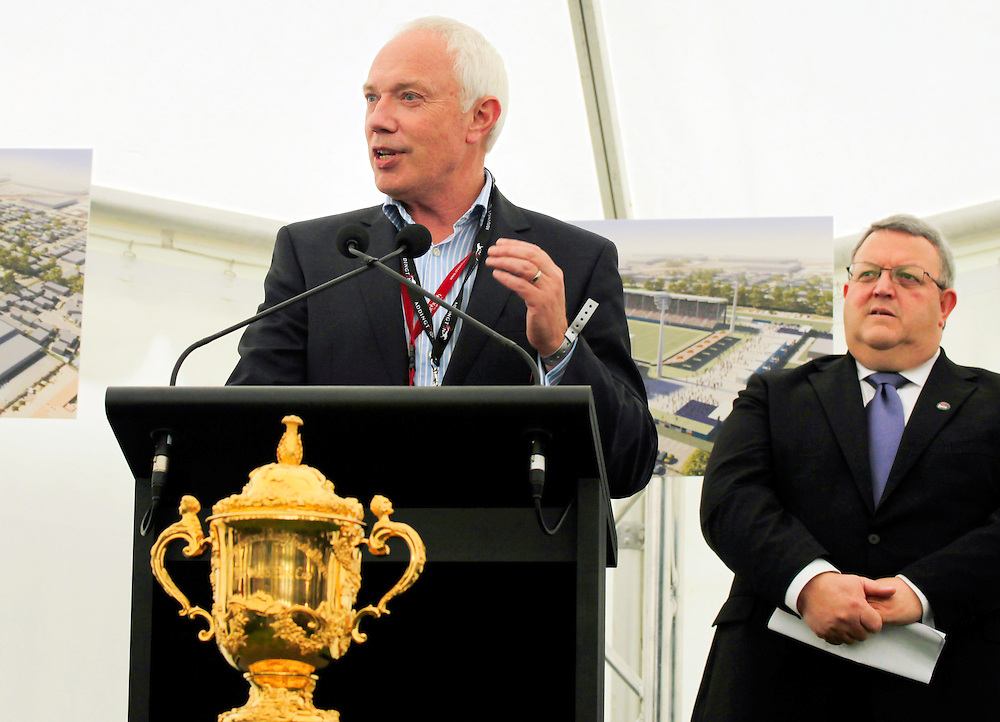 Mayor Bob Parker, left and Canterbury Earthquake Recovery Minister Gerry Brownlee at the announcement of the 17,000 seat temporary sports stadium to be built at Rugby League Park to be the home for the Crusaders, Christchurch, New Zealand, Tuesday, November 08, 2011.  Credit:SNPA / Pam Johnson