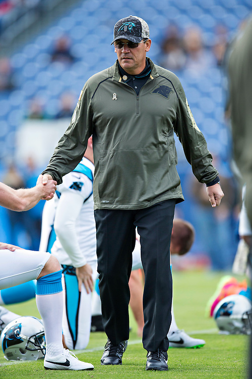 NASHVILLE, TN - NOVEMBER 15:  Head Coach Ron Rivera of the Carolina Panthers on the field with his team before a game against the Tennessee Titans at Nissan Stadium on November 15, 2015 in Nashville, Tennessee.  (Photo by Wesley Hitt/Getty Images) *** Local Caption *** Ron Rivera