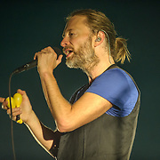 FAIRFAX, VA - September 30th, 2013 - Thom Yorke of Atoms For Peace performs at the Patriot Center in Fairfax, VA. The band, which consists of Yorke, Red Hot Chili Peppers bassist Flea, Radiohead producer Nigel Godrich and R.E.M. touring drummer Joey Waronker, performed songs from the group's debut album, Amok, as well as songs from Yorke's solo debut and Radiohead b-sides. (Photo by Kyle Gustafson / For The Washington Post)