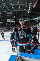 KELOWNA, CANADA - SEPTEMBER 24: Tate Coughlin #18 of the Kelowna Rockets exits the bench against the Kamloops Blazers on September 24, 2016 at Prospera Place in Kelowna, British Columbia, Canada.  (Photo by Marissa Baecker/Shoot the Breeze)  *** Local Caption *** Tate Coughlin;