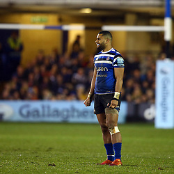 Joe Cokanasiga of Bath Rugby during the Gallagher Premiership match between Bath Rugby and Sale Sharks at the The Recreation Ground Bath England.2nd December 2018,(Photo by Steve Haag Sports)