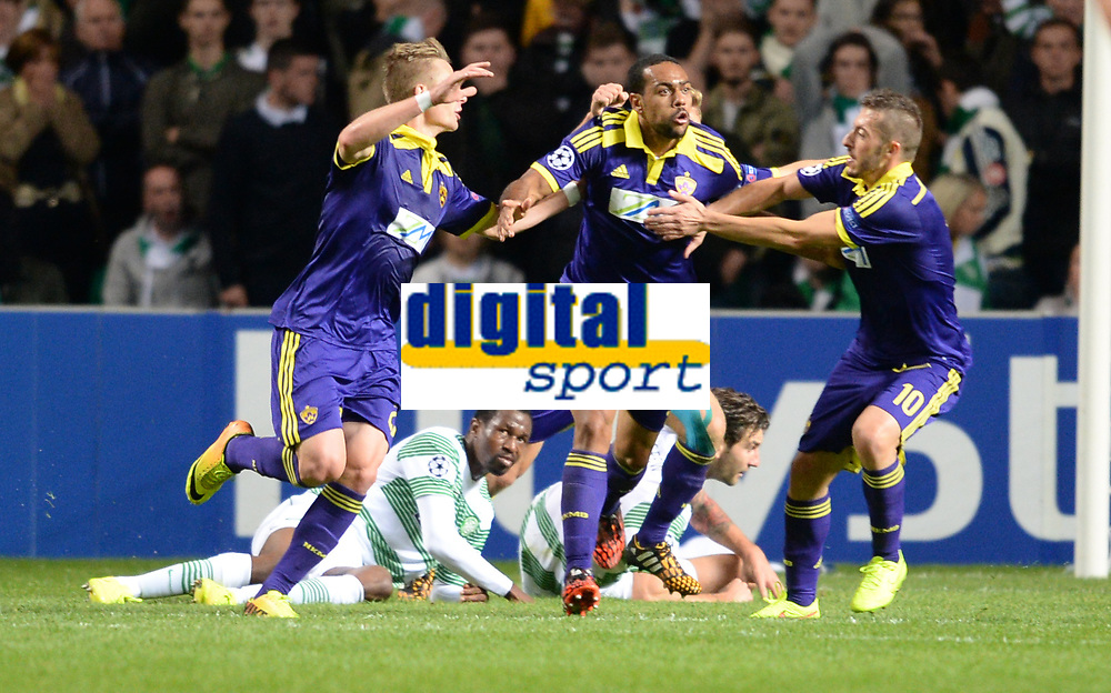 26/08/14 UEFA CHAMPIONS LEAGUE PLAY-OFF 2ND LEG<br /> CELTIC v NK MARIBOR<br /> CELTIC PARK - GLASGOW<br /> NK Maribor's Tavares (centre) celebrates after opening the scoring