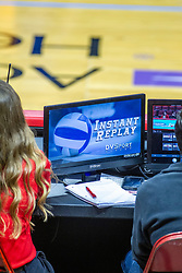 BLOOMINGTON, IL - November 22: Instant replay screen during a college Women's volleyball match between the ISU Redbirds and the Sycamores of Indiana State on November 22 2019 at Illinois State University in Normal, IL. (Photo by Alan Look)