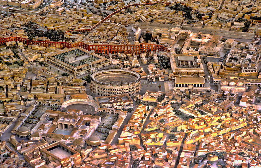 Museo della Civilt&agrave; Romana<br /> Plastico di Roma imperiale, al centro il Colosseo  e le arcate dell&rsquo;Acquedotto Neroniano<br /> La storia del plastico ricostruttivo di Roma in et&agrave; costantiniana (IV secolo d.C.) inizia nel 1933 con la rappresentazione del solo centro monumentale, nell'ambito dell'allestimento della Mostra Augustea della Romanit&agrave; (1937). Il plastico fu realizzato dall'architetto Italo Gismondi.<br /> Model of imperial Rome<br /> Model of Imperial Rome at the Time of Constantine: Area Around the Colosseum<br /> This vast model reconstructing the city of Rome in the age of Constantine, created by the architect Italo Gismondi, is positioned in a centre of a spacious Rome, at a low level to allow an easy view from above. The reconstruction, at a scale of 1:250, integrates the information from the marble Forma Urbis (the large plan of Rome created in the early III century AD) with data from the archaeological remains and ancient sources.