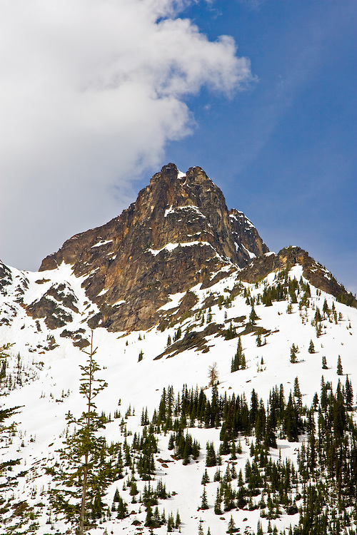 Whistler Peak in North Cascades National Park, Washington State, USA.  Photographed from Rainy Pass.