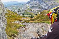 Biker at top of trail<br /> Antur Stiniog<br /> Blaenau Ffestiniog<br /> Gwynedd<br /> North<br /> Mountain Biking<br /> Activities and Sports