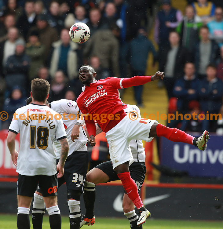 Charlton Athletic's Igor Vetokele during the Sky Bet Championship match between Charlton Athletic and Derby County at The Valley in London. April 16, 2016.<br /> John Marsh / Telephoto Images<br /> +44 7967 642437
