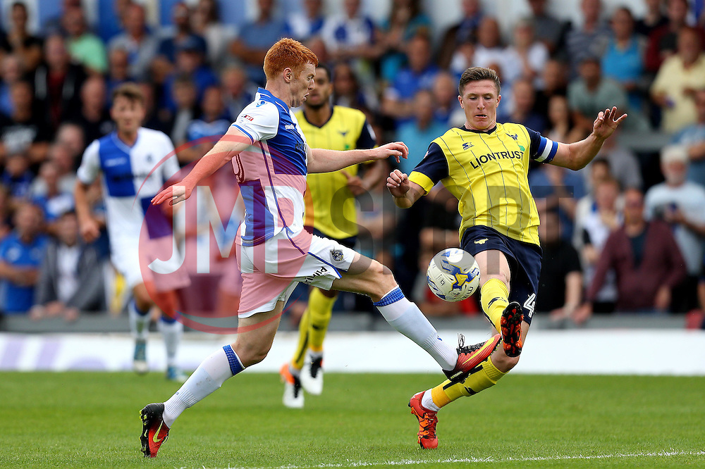 John Lundstram of Oxford United tackles Rory Gaffney of Bristol Rovers - Mandatory by-line: Robbie Stephenson/JMP - 14/08/2016 - FOOTBALL - Memorial Stadium - Bristol, England - Bristol Rovers v Oxford United - Sky Bet League One