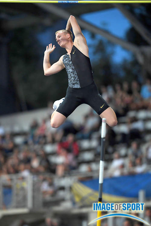 Sam Kendricks (USA) wins the pole vault at 19-8¼ (6.00m) during the Meeting de Paris, Saturday, Aug. 24, 2019, in Paris. (Jiro Mochizuki/Image of Sport via AP)