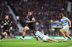 November 11, 2017 - London, England, United Kingdom - Argentina's Juan Martin Hernandez attempts a tackle on England's Nathan Hughes during Old Mutual Wealth Series between England against Argentina at Twickenham stadium , London on 11 Nov 2017  (Credit Image: © Kieran Galvin/NurPhoto via ZUMA Press)