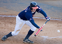 Virginia Cavaliers infielder Patrick Wingfield (8)lays down a bunt against GWU.  The Virginia Cavaliers Baseball Team defeated the George Washington University Colonials 15-2 to complete a sweep of the three game series on February 19, 2007 at Davenport Field, Charlottesville, VA.