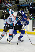 KELOWNA, CANADA - DECEMBER 30:  Chaz Reddekopp #29 of the Victoria Royals & Nolan Foote #29 of the Kelowna Rockets at the Kelowna Rockets game on December 30, 2016 at Prospera Place in Kelowna, British Columbia, Canada.  (Photo By Cindy Rogers/Nyasa Photography,  *** Local Caption ***