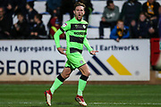 Forest Green Rovers Dayle Grubb(8) scores a goal 1-2 and celebrates during the EFL Sky Bet League 2 match between Cambridge United and Forest Green Rovers at the Cambs Glass Stadium, Cambridge, England on 2 October 2018.