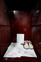 A memorial set up for Mesquite High School freshman, Jordan Edward's , in his football locker. Edwards was shot in Balch Springs, Texas Saturday, April 29, 2017  by a Balch Springs police officer.