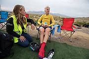 Iris Slappendel (rechts) na afloop van de zesde en laatste racedag. Het Human Power Team Delft en Amsterdam, dat bestaat uit studenten van de TU Delft en de VU Amsterdam, is in Amerika om tijdens de World Human Powered Speed Challenge in Nevada een poging te doen het wereldrecord snelfietsen voor vrouwen te verbreken met de VeloX 7, een gestroomlijnde ligfiets. Het record is met 121,81 km/h sinds 2010 in handen van de Francaise Barbara Buatois. De Canadees Todd Reichert is de snelste man met 144,17 km/h sinds 2016.<br /> <br /> With the VeloX 7, a special recumbent bike, the Human Power Team Delft and Amsterdam, consisting of students of the TU Delft and the VU Amsterdam, wants to set a new woman's world record cycling in September at the World Human Powered Speed Challenge in Nevada. The current speed record is 121,81 km/h, set in 2010 by Barbara Buatois. The fastest man is Todd Reichert with 144,17 km/h.